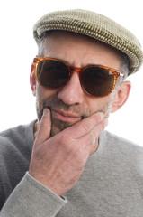 artist thinking scottish tweed hat retro fashion sunglasses