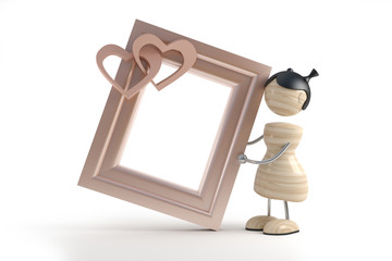 little girl and frame in white background