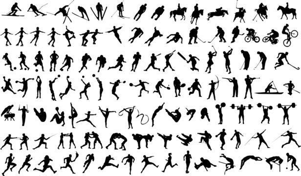 Set of vector silhouettes of people in sports
