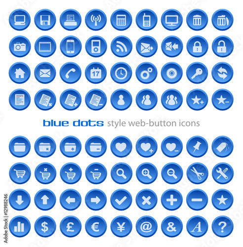 """Web Button Icon Set - Blue Dots"" Stock image and royalty ..."