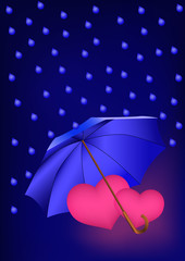Romantic background with two pink hearts