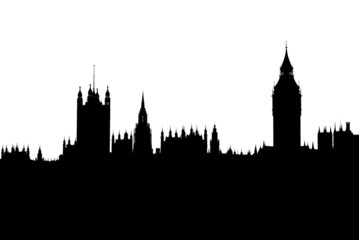 Silhouette of London houses of parliament skyline