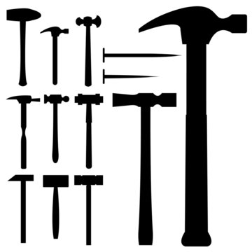 Hammers and mallets - vector silhouette set