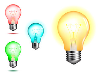 light bulb in various colors