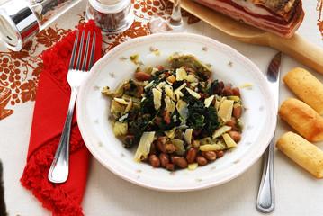 Tortino di carciofi spinaci fagioli pancetta formaggio a scaglie