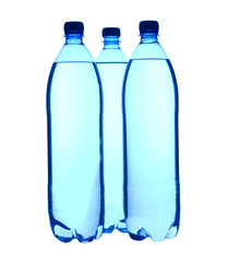 Three plastic  1,5 liter bottled water