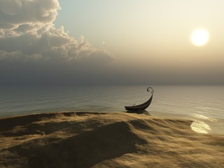 Beach - Ocean View with Rowboat on the Shore