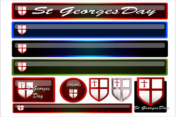 Set of st georges day headers and buttons