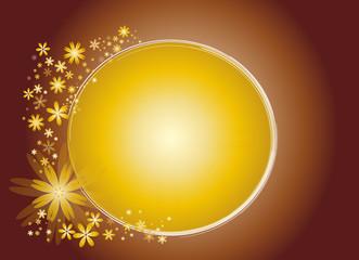 cercle de fleurs or sur fond dégradé cuivré