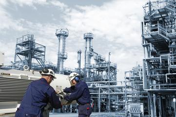 engineering work inside refinery