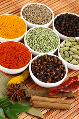 bowls of spices on mat background