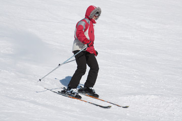 Skier on a mountain slope
