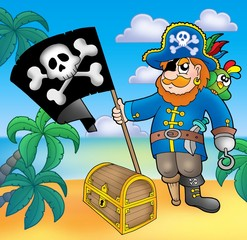 Fotorolgordijn Piraten Pirate with flag on beach