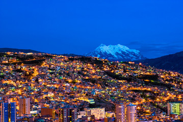 Photo sur Plexiglas Amérique du Sud Panorama of night La Paz, Bolivia