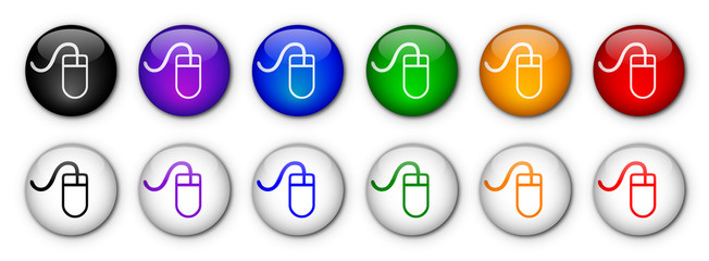 """Mouse"" Buttons  (x12 - various colours)"