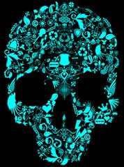 Colored Skull Print Design Artwork