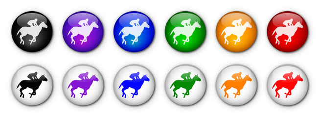 """Horse Racing"" Buttons (x12 - various colours)"