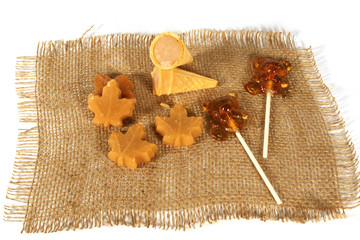 Maple sugar in a cone and other maple sugar candy.