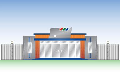 Vector template a facade of an industrial building