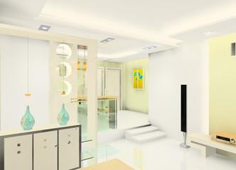 A faddish sitting room and kitchen