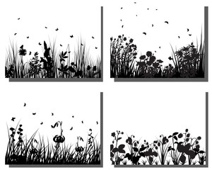 set of meadows silhouettes