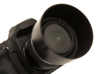 Digital Camera lens on a black camera body