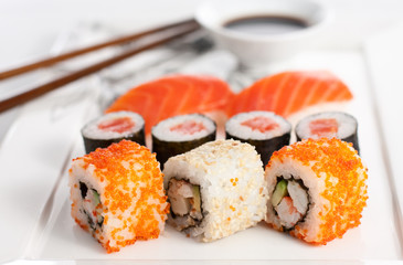 Sushi plate, close-up