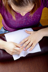 hand receiving a manicure
