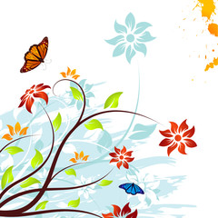 Grunge vector flower background with butterfly