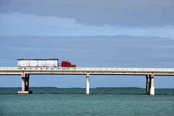 Truck driving on Bahia Honda bridge, Florida Keys