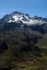 Le téléphérique au pied des montagnes des andes