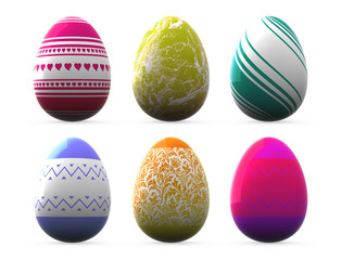 different style easter eggs - isolated on white