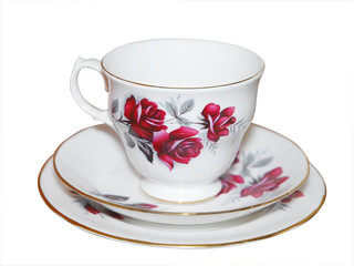 Cup saucer and Plate with Roses