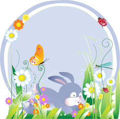 Easter illustration with floral elements and rabbit