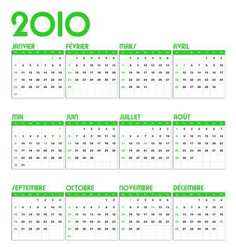 Calendrier 2010 vert