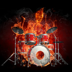 Canvas Prints Flame Drummer