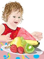 girl reaching for watermelon