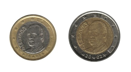 Spain, 1 and  2 euro coins