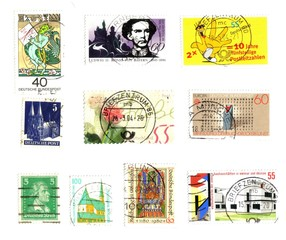 Germany: 10 old stamps background