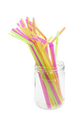 Plastic Drinking Straws in Glass Jar