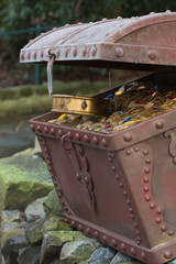 Treasure chest with gold