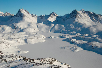 Greenland, moutains and ice floe