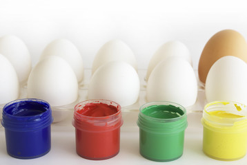 Eggs and paints, preparation for easter