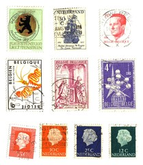 Belgium and  Netherlands stamps  background