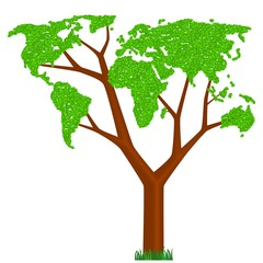 tree with leaves as continents of world