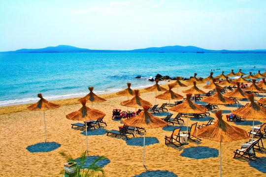 Sunny beach on Bulgaria coastline