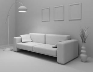 the interior in gray color