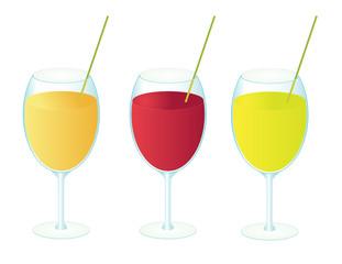 Three glasses of fruit juice