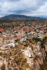 Small town and rocky ruins panorama