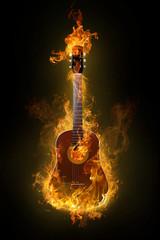 Poster Flamme hot guitar